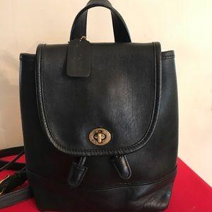 Vintage black Coach Leather Backpack